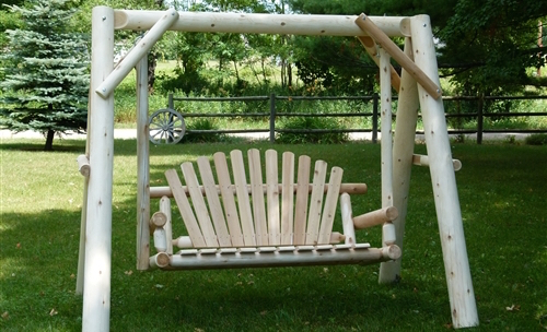Cedar Creek Rustic Furniture - Outdoor Cedar Log Swing 5 foot, 3-person garden swing