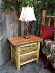 2 Drawer Log Nightstand / Cottage Collection
