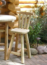 "Hand-peeled, handcrafted custom Cedar log bar stools with back, 30"". Made in USA from Michigan white cedar."
