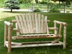 Cedar Creek Rustic Furniture manufactures outdoor 4' Adirondack Log Gliders from Michigan white cedar. Made in USA.
