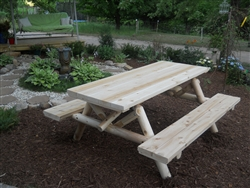 Outdoor Cedar Log Picnic Table