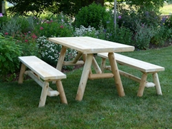 Cedar Log picnic table with separate benches, Cedar Creek Furniture