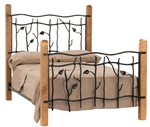Rustic iron and wood bed, comes complete with rails, foot board, headboard.