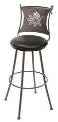 Iron rustic bar stool with engraved pine cone