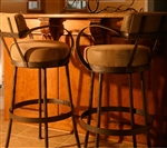 Iron rustic bar stool with back and arms