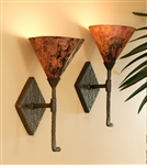 Rustic sconce with single copper shade