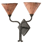 Rustic sconce with double copper shade