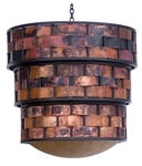 Rustic Copper and Iron Chandelier, handcrafted with strips of copper