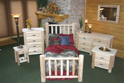5 Piece Cedar Log Bedroom Set.Handcrafted Solid Wood Michigan Cedar Bed Set. Includes any size log bed, 4 drawer chest, 6 drawer dresser, 2 drawer nightstand.