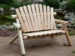 Cedar garden bench made in America from white cedar lumber and logs.