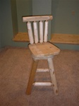 Rustic Log Bar Stool Swivel 30""
