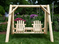Outdoor rustic double chair cedar log swing. handcrafted from Michigan white cedar. Made in USA.