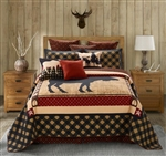 Wild Moose Black Red Quilt Set with 2 Shams