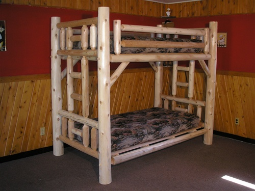 Log bunk beds michigan for Log loft bed