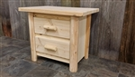2 Drawer Log Nightstand / Modern Collection
