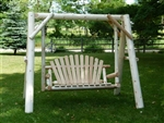 log garden swing made of white cedar from a cedar log furniture manufacturer who has been handcrafting this log furniture for over 35yrs.  The durability of this log garden swing will last for years to come and can with stand the outdoor elements.