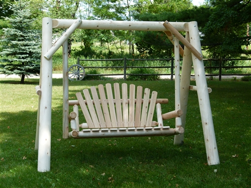 Log Garden Swing Made Of White Cedar From A Cedar Log Furniture  Manufacturer Who Has Been