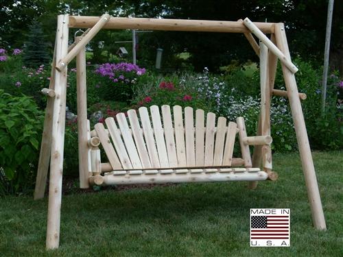 5u0027 Cedar Log Garden Swing (economy)