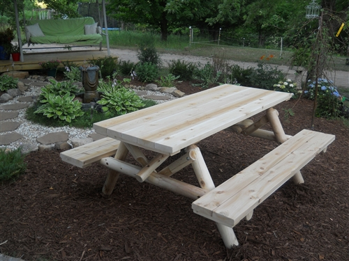 Elegant Outdoor Cedar Log Picnic Table
