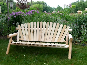 Enjoyable Long Cedar Log Garden Bench Bralicious Painted Fabric Chair Ideas Braliciousco