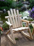 Outdoor Rustic Log Cedar Rocker, quality handcrafted Log Rocking Chair made from Michigan white cedar, made in USA - Cedar Creek Rustic Furniture Store.