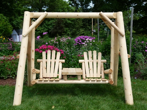 Outdoor Rustic Double Chair Cedar Log Swing. Handcrafted From Michigan  White Cedar. Made In